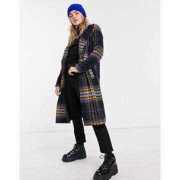 Noisy May tailored longline coat in navy check-Black