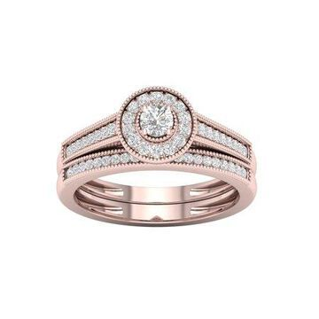 IGI Certified 1/3Ct TDW Diamond 10k Rose Gold Halo Bridal Set (H-I, I2)