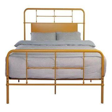 Pemberly Row Herald Butterscotch Queen Metal Bed