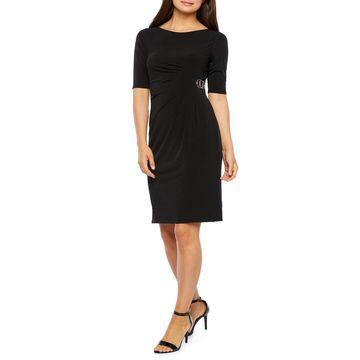 Jessica Howard-Petite Short Sleeve Sheath Dress