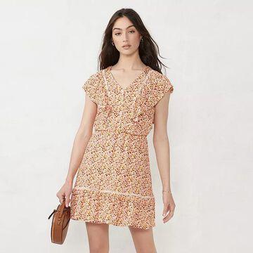 Petite LC Lauren Conrad Trim Inset Fit & Flare Dress, Women's, Size: Medium Petite, Lt Orange