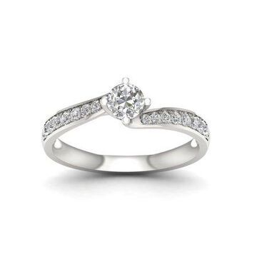 IGI Certified Imperial 1/2Ct TDW Diamond 10k White Gold Bypass Engagement Ring (H-I, I2)