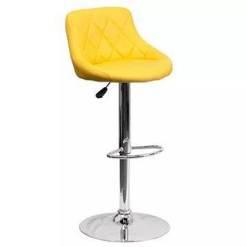 Flash Furniture Contemporary Vinyl Adjustable Diamond Back Bucket Seat Bar Stool In Yellow