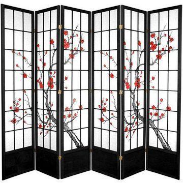 Oriental Furniture 7 Ft Tall Cherry Blossom Shoji Screen, black, 6 panel, 84