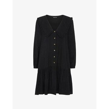 Whistles Womens Black Emery Oversized-collar Woven Mini Dress 6
