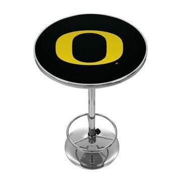 Trademark Gameroom Oregon Ducks Pub Tables Chrome Round Bar Table, Composite with Metal Metal Base