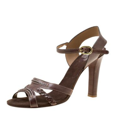 Chloe Brown Leather Braid Detail Ankle Strap Sandals Size 42