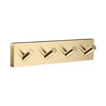House - Quadruple Hook, Polished Brass Laqured