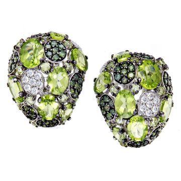 Roberto Coin Shanghai Womens White Gold White and Green Diamond and Peridot Earrings