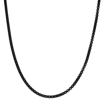 """Men's LYNX Stainless Steel 3.5 mm Box Chain Necklace, Size: 22"""", Black"""