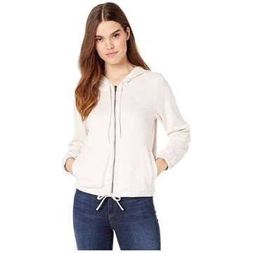 Chaser Stretch Faux Suede Zip-Up Hoodie (Powder Puff) Women's Clothing