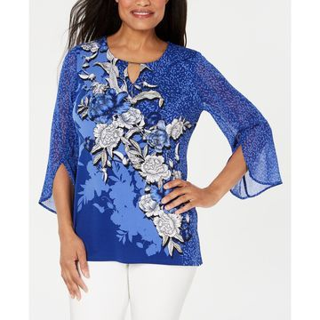 Petite Embellished Split-Sleeve Top, Created for Macy's