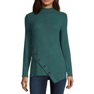 Alyx Womens Mock Neck Long Sleeve Knit Blouse