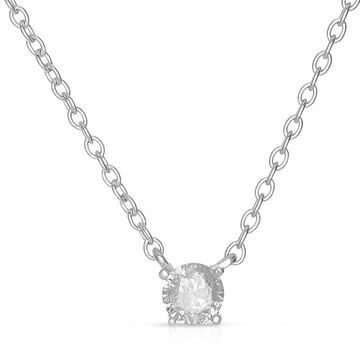 Finesque Sterling Silver Round Diamond Solitaire Necklace
