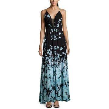 Betsy & Adam Womens Floral Maxi Evening Dress