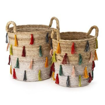 IMAX 23195-2 Tassel Baskets - Set of 3