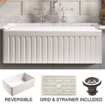 Empire Industries Sutton Place Farmhouse Apron Front 33-in x 18-in White Single Bowl Kitchen Sink Stainless Steel