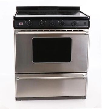 Premier 30-in Smooth Surface 4 Elements 3.9-cu ft Freestanding Electric Range (Stainless with Black Trim) | EDS7X0BP