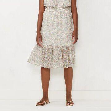 Women's LC Lauren Conrad Smocked Waist Tiered Midi Skirt, Size: Medium, Natural