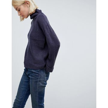 QED London Striped High Neck Sweater