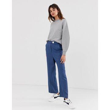 ASOS WHITE wide crop button pants-Blue