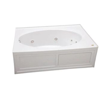 Jacuzzi Nova 42-in W x 60-in L White Acrylic Oval Left Drain Alcove Whirlpool Tub   NVS6042WLR2HXW