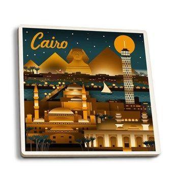Cairo, Egypt - Retro Skyline - Lantern Press Artwork (Set of 4 Ceramic Coasters - Cork-backed, Absorbent)