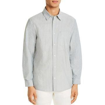 APC Mens Button-Down Shirt Cotton Collared - Gray