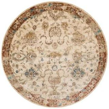 Alexander Home Contessa Traditional Antique Floral Distressed Rug (Antique Ivory/Rust 7'1 x 7'1)