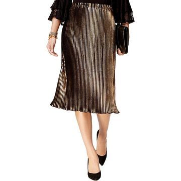 NY Collection Womens Metallic Pleated Midi Skirt