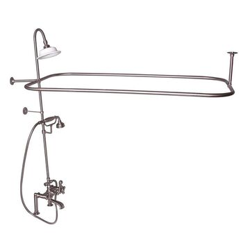 Barclay Brushed Nickel 3-Handle Residential Deck Mount Roman Bathtub Faucet with Hand Shower