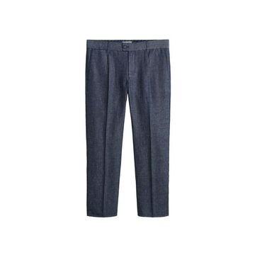 MANGO MAN - Flecked cotton linen pants open blue - 34 - Men