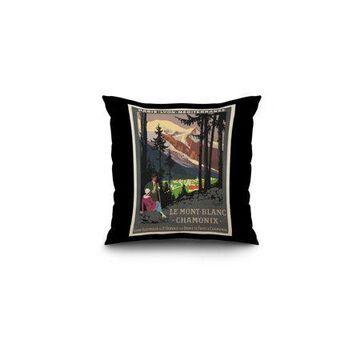Le Mont - Blanc - Chamonix Vintage Poster (artist: Broders, Roger) France c. 1924 (16x16 Spun Polyester Pillow, Black Border)