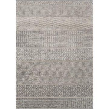 "Art of Knot Lottie Gray 5'3"" x 7'3"" Global Striped Area Rug"