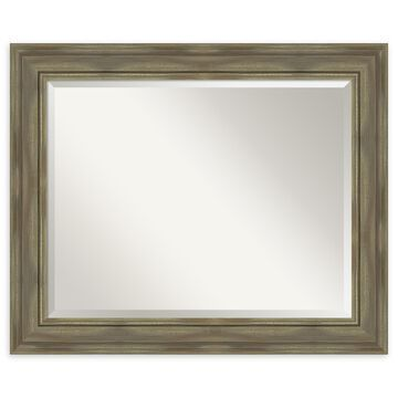 Amanti Art Alexandria Greywash Framed Bathroom Mirror