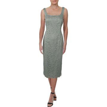 Alex Evenings Womens Cocktail Dress Lace Midi