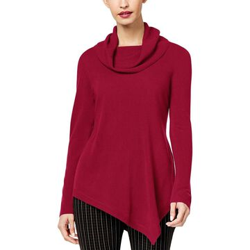 NY Collection Womens Asymmetric Cowl Pullover Sweater