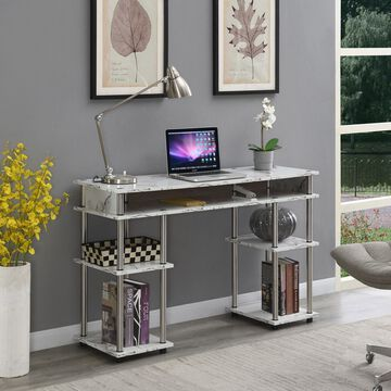 Convenience Concepts Designs2Go No Tools Student Desk, White Marble