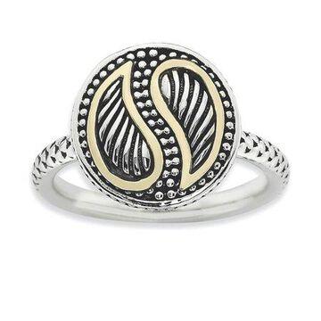 925 Sterling Silver Antiqued Yin Yang Pattern Ring