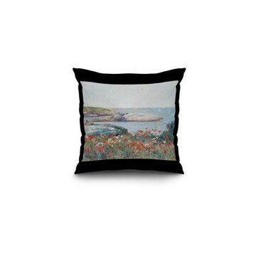 Poppies, Isles of Shoals - Masterpiece Classic - Artist: Childe Hassam c. 1891 (16x16 Spun Polyester Pillow, Black Border)