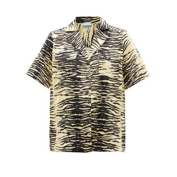 Ganni - Cuban-collar Zebra-print Crinkled-twill Shirt - Womens - Yellow