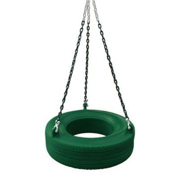 Gorilla Playsets 360 Degree Turbo Tire Swing w/ Spring Clips & Swivel, Green, 27 x 8 in., 125 lb. Capacity, 04-0015-G/G