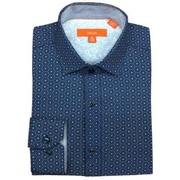 Tallia Men's Slim-Fit Performance Stretch Geo-Print Dress Shirt