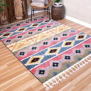 Orian Rugs Saffron Mayan Stripe Area Rug with Braided Fringe
