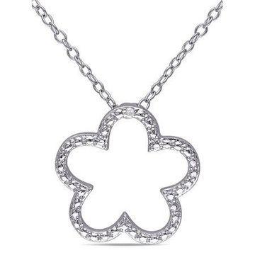 Miabella Diamond-Accent Sterling Silver Flower Necklace, 18