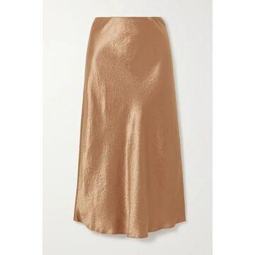 Max Mara - Leisure Washed-satin Midi Skirt - Gold
