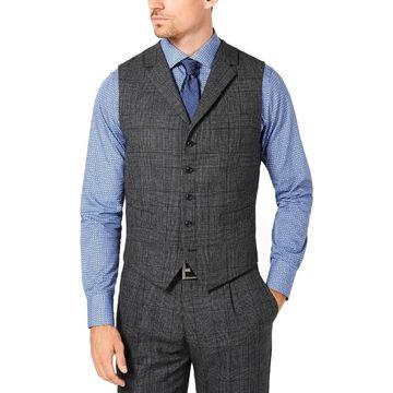 Tallia Mens Suit Vest Wool Glen Plaid - 46