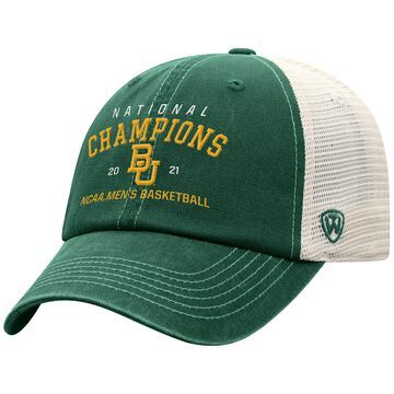 Men's Top of the World Green Baylor Bears 2021 NCAA Men's Basketball National Champions Traditional Trucker Snapback Adjustable Hat