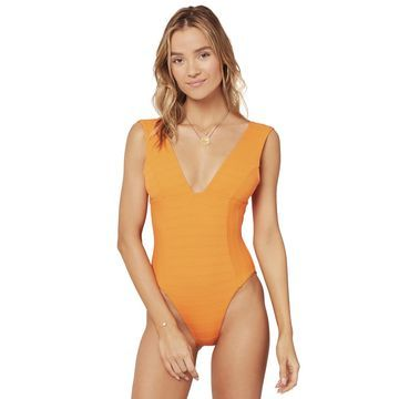 L-Space Clear Water Texture Sunscape Plunge One Piece Swimsuit