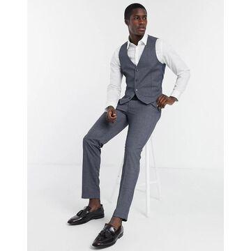Farah gray check slim fit suit pants-Grey